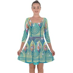 Background Landscape Surreal Quarter Sleeve Skater Dress