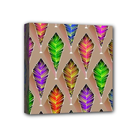 Abstract Background Colorful Leaves Mini Canvas 4  X 4  by Nexatart