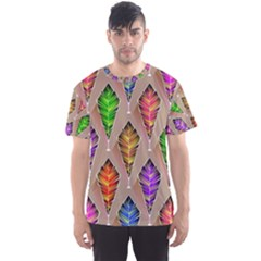 Abstract Background Colorful Leaves Men s Sports Mesh Tee