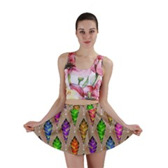 Abstract Background Colorful Leaves Mini Skirt