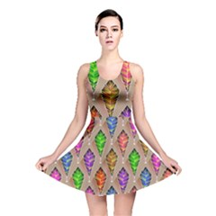 Abstract Background Colorful Leaves Reversible Skater Dress