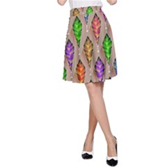 Abstract Background Colorful Leaves A Line Skirt