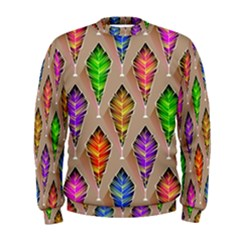 Abstract Background Colorful Leaves Men s Sweatshirt