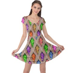 Abstract Background Colorful Leaves Cap Sleeve Dress