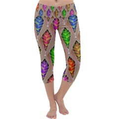 Abstract Background Colorful Leaves Capri Yoga Leggings