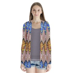 Abstract Background Colorful Leaves Drape Collar Cardigan