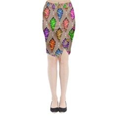 Abstract Background Colorful Leaves Midi Wrap Pencil Skirt