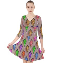Abstract Background Colorful Leaves Quarter Sleeve Front Wrap Dress