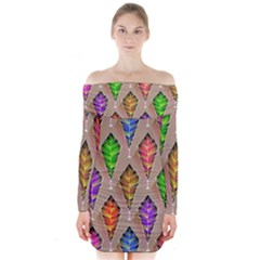 Abstract Background Colorful Leaves Long Sleeve Off Shoulder Dress