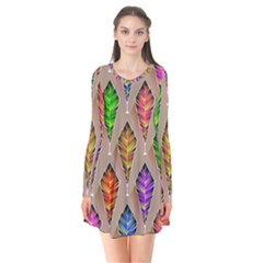 Abstract Background Colorful Leaves Flare Dress