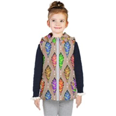 Abstract Background Colorful Leaves Kid s Puffer Vest by Nexatart