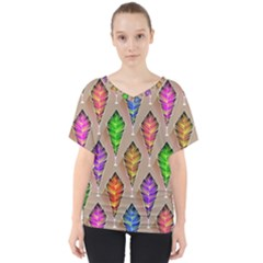 Abstract Background Colorful Leaves V Neck Dolman Drape Top