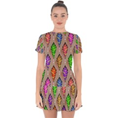 Abstract Background Colorful Leaves Drop Hem Mini Chiffon Dress