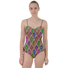 Abstract Background Colorful Leaves Sweetheart Tankini Set