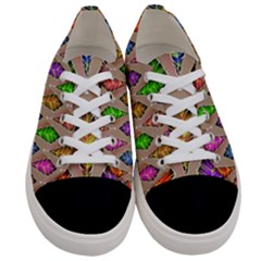 Abstract Background Colorful Leaves Women s Low Top Canvas Sneakers