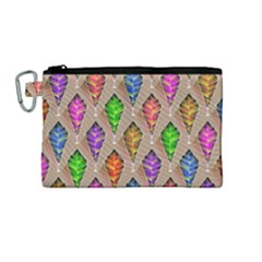 Abstract Background Colorful Leaves Canvas Cosmetic Bag (medium)