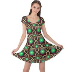 Pattern Background Bright Brown Cap Sleeve Dress