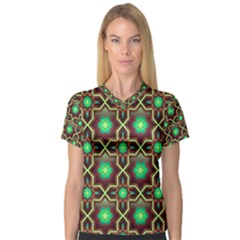 Pattern Background Bright Brown V Neck Sport Mesh Tee