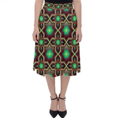 Pattern Background Bright Brown Folding Skater Skirt