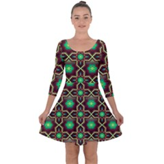 Pattern Background Bright Brown Quarter Sleeve Skater Dress