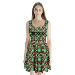 Pattern Background Bright Brown Split Back Mini Dress