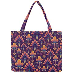 Abstract Background Floral Pattern Mini Tote Bag