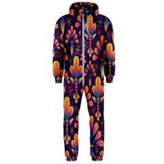 Abstract Background Floral Pattern Hooded Jumpsuit (men)