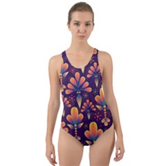 Abstract Background Floral Pattern Cut Out Back One Piece Swimsuit