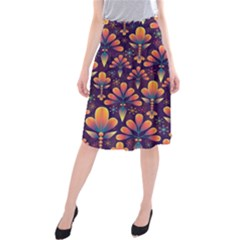 Abstract Background Floral Pattern Midi Beach Skirt