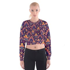 Abstract Background Floral Pattern Cropped Sweatshirt