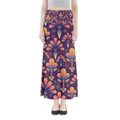 Abstract Background Floral Pattern Full Length Maxi Skirt