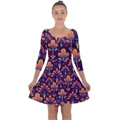 Abstract Background Floral Pattern Quarter Sleeve Skater Dress