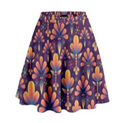 Abstract Background Floral Pattern High Waist Skirt