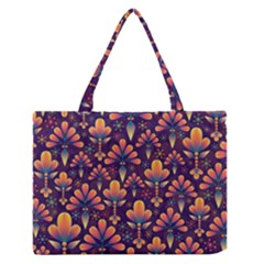 Abstract Background Floral Pattern Zipper Medium Tote Bag