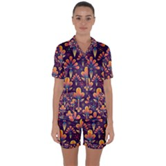 Abstract Background Floral Pattern Satin Short Sleeve Pyjamas Set