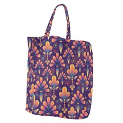 Abstract Background Floral Pattern Giant Grocery Zipper Tote