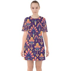 Abstract Background Floral Pattern Sixties Short Sleeve Mini Dress