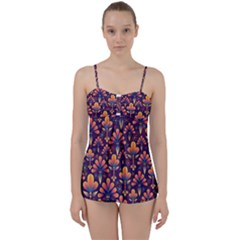 Abstract Background Floral Pattern Babydoll Tankini Set