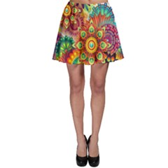 Colorful Abstract Background Colorful Skater Skirt by Nexatart