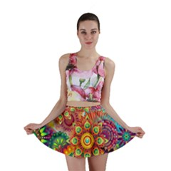 Colorful Abstract Background Colorful Mini Skirt