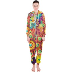 Colorful Abstract Background Colorful Hooded Jumpsuit (ladies)