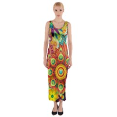 Colorful Abstract Background Colorful Fitted Maxi Dress
