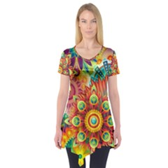 Colorful Abstract Background Colorful Short Sleeve Tunic