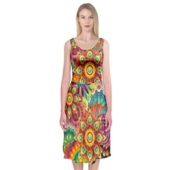 Colorful Abstract Background Colorful Midi Sleeveless Dress
