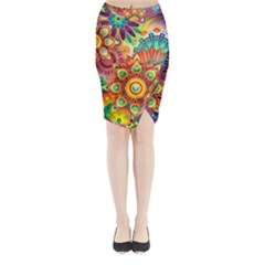 Colorful Abstract Background Colorful Midi Wrap Pencil Skirt