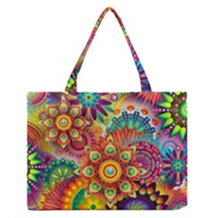 Colorful Abstract Background Colorful Zipper Medium Tote Bag