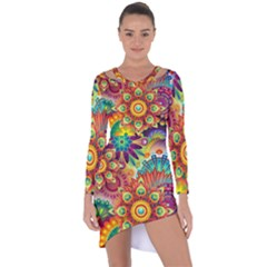 Colorful Abstract Background Colorful Asymmetric Cut Out Shift Dress