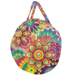 Colorful Abstract Background Colorful Giant Round Zipper Tote by Nexatart