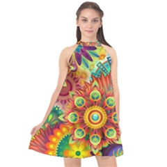 Colorful Abstract Background Colorful Halter Neckline Chiffon Dress