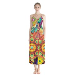 Colorful Abstract Background Colorful Button Up Chiffon Maxi Dress